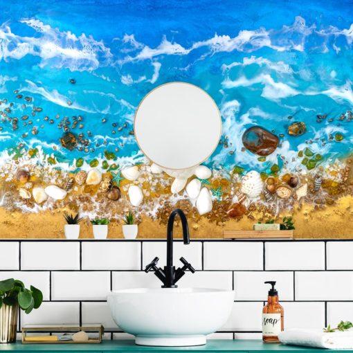 Dekoracja do łazienki fototapeta resin se a niebieska