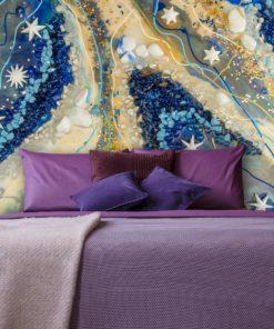 dekorowana fototapetą sypialnia i pokój niebiesko bezowa
