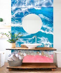 Fototapeta do łazienki resin sea różowo niebieskawa