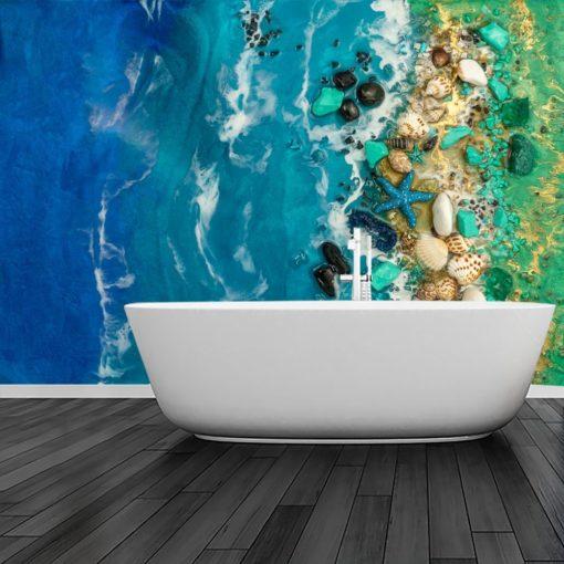 Dekoracja do łazienki fototapeta z morzem w kolorze turkusowo niebieskim