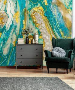 Dekoracja do salonu fototapeta abstrakcja ze złotem