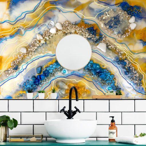 fototapeta do łazienki sztuka żywiczna niebiesko pomarańczowa