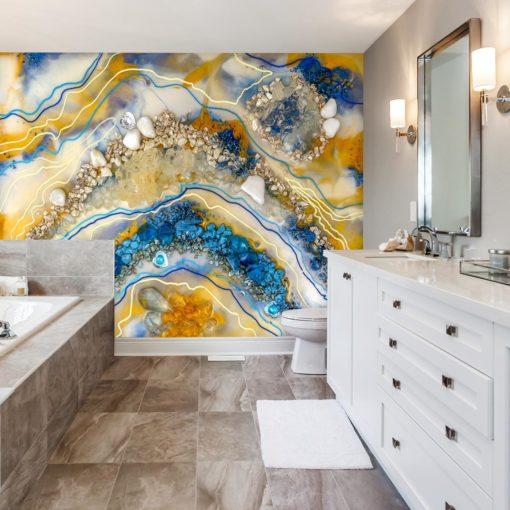 Fototapeta do łazienki pomarańczowo niebieska abstrakcja