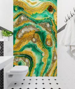 Ściana z żywicy - fototapeta abstrakcja żółto zielona ze złotymi elementami
