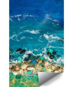 Fototapeta kompozycja malarska zielono niebieskie morze