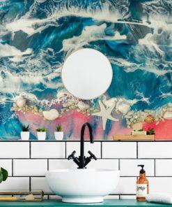 fototapeta do łazieki resin sea z kamieniami i muszelkami z lustrem