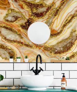 Inspiracja dekoracji do łazienki fototapeta abstrakcyjna sztuka żywiczna