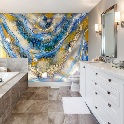 fototapeta do łazieki dekoracja z żywicy epoksydowej abstrakcja kamienie