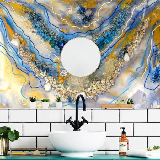 Fototapeta reprodukcja malarstwa żywicznego do łazienki z kamieniami i mazajami
