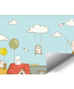 Fototapeta dziecięca przedstawiająca zwierzęta na tle nieba