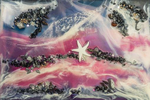 fototapeta sztuka żywiczna motyw abstrakcyjny czarne kamienie biała rozgwiazda