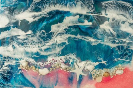 fototapeta reprodukcja malarstwa żywicznego plaża z kamieniami