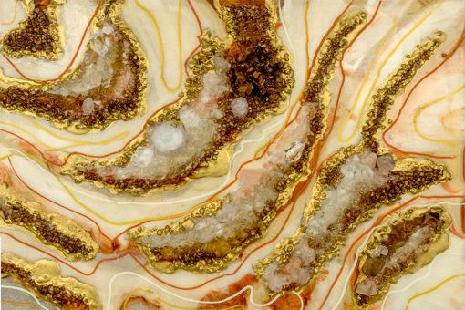 fototapeta sztuka żywiczna reprodukcja z abstrakcją i kamieniami pomarańczowo brązowa