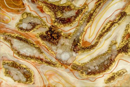 fototapeta sztuka żywiczna motyw abstrakcyjny złoto kamienie