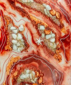 fototapeta sztuka żywiczna reprodukcja z abstrakcją czerwono pomarańczową