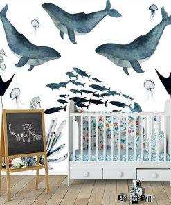 Fototapeta dziecięca wieloryby i rafa koralowa
