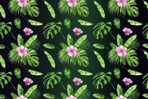 różowe egzotyczne kwiatki na fototapecie z zielonym liściem montery