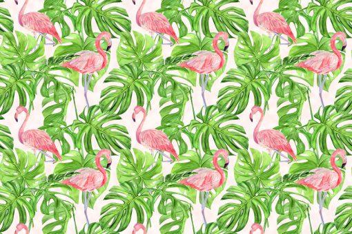 kuchnia dekorowana foto-tapetą z flamingami i monsterą