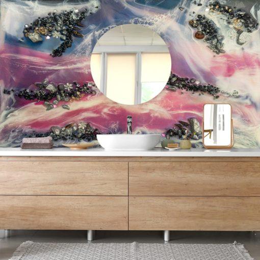 Fototapeta do łazienki różowo niebieska morski motyw wody