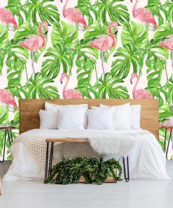 tropikalna sypialnia-zielone liście na fototapecie