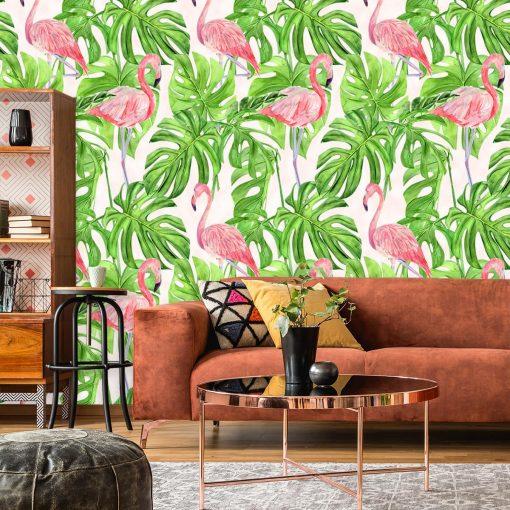 dekoracja kuchni-fototapeta z różo wym flamingiem