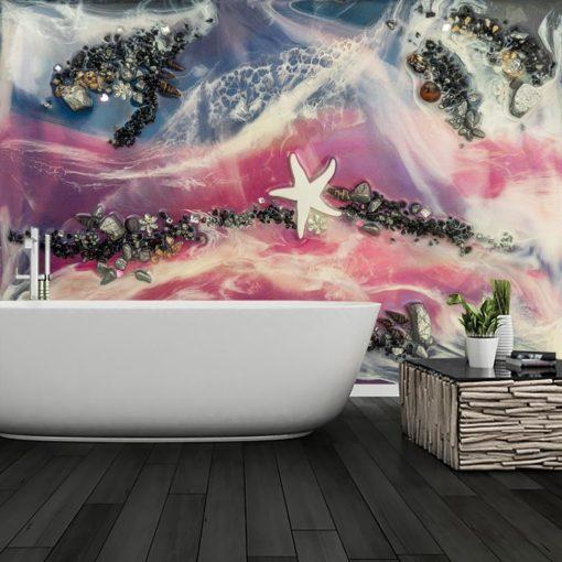 Fototapeta do łazienki plaża fale morze rozgwiazda