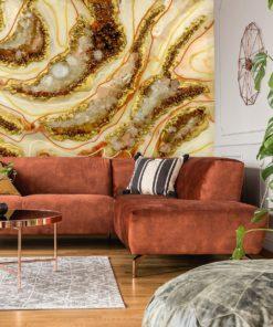 dekoracja do salonu fototapeta geode style abstrakcja beżowa