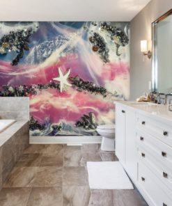 fototapeta do łazienki abstrakcja geode art z kamieniami