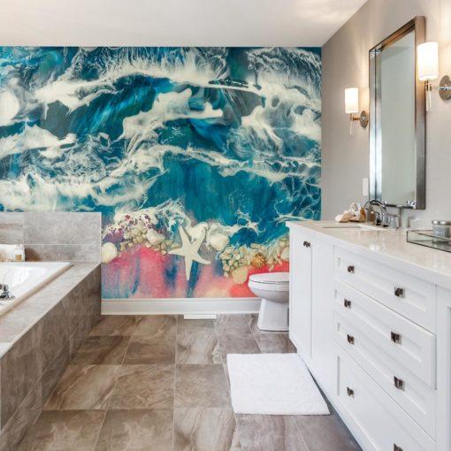 Inspiracja do łazienki fototapeta morze niebiesko różowe