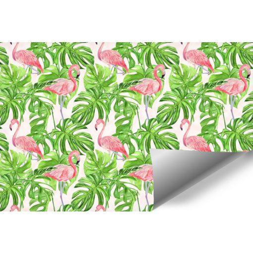 foto-tapeta z różowo-zielonym egzotycznym motywem