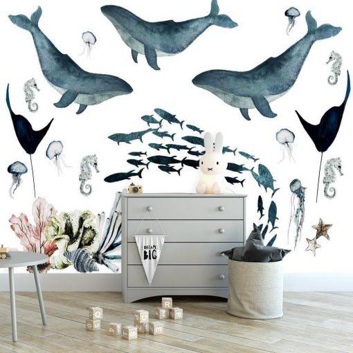 Fototapeta dziecięca z motywem zwierząt morskich