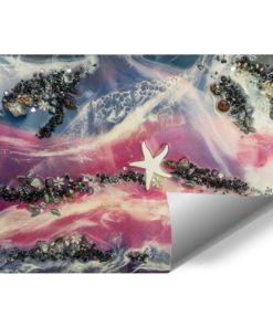 fototapeta różowo niebieska z falami morzem i kamieniami