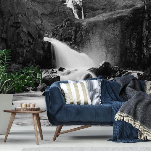 Fototapeta z wodospadem między skałami do sypialni