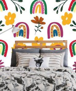 Kolorowa fototapeta z tęczami do sypialni