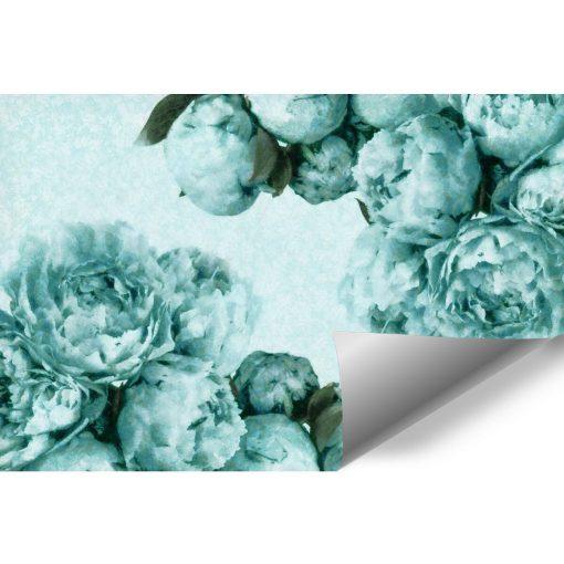 Foto-tapeta z turkusowymi kwiatami do przedpokoju