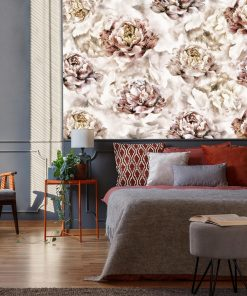 Botaniczna tapeta w piwonie do pokoju