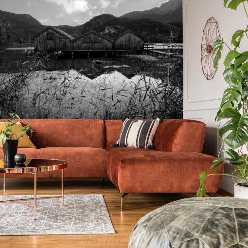 Fototapeta z drewnianymi domkami do salonu
