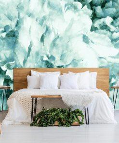 Tapeta z niebieskim kwiatem do sypialni