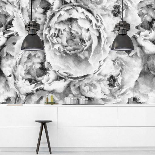 Szara fototapeta z kwiatami do kuchni