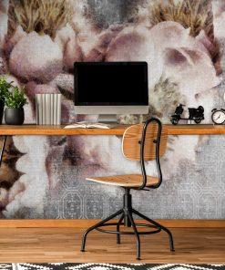 Botaniczna tapeta z kwiatami do biura