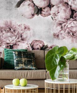 Fototapeta do salonu z różowymi peoniami