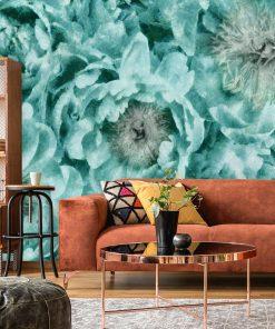 Fototapeta - Turkusowe kwiaty do pokoju