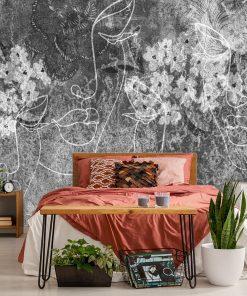 Szara fototapeta z motywem line art do pokoju
