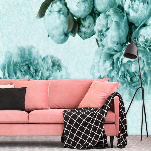 Foto-tapeta z turkusowymi kwiatami do salonu