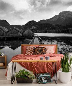 Tapeta z domkami na jeziorze do sypialni