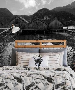 Fototapeta z drewnianymi domkami do sypialni