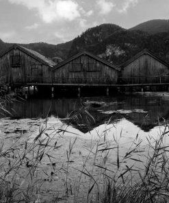 Fototapeta z drewnianymi domkami