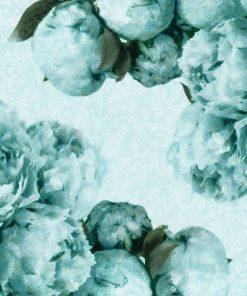 Foto-tapeta z turkusowymi kwiatami