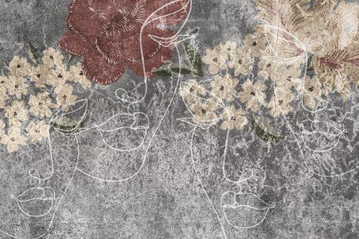 Fototapeta z rustykalnym line artem