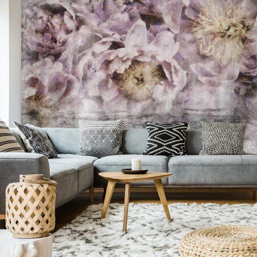 Tapeta do salonu - Kwiaty i orientalny wzór